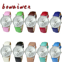 bowaiwen #1042 Women Watches 10 Colors New Design New Women PU Leather Watch Who Cares I am Late Anyway Letter Watches
