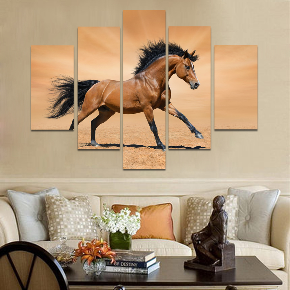Unframed Canvas Animal Painting Brown Horse Picture Prints Wall Picture For Living Room Wall Art Decoration Dropshipping