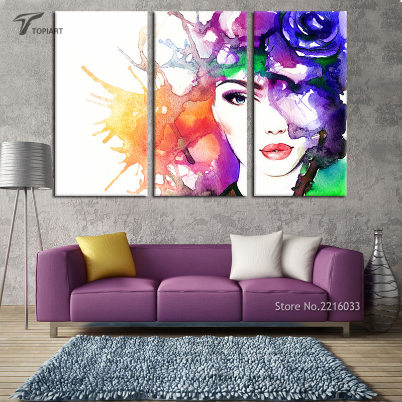 3 panel decor wall art abstract beauty canvas print for Pop wall art