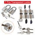 7 прозрачных замков + 7 ключей  полный комплект видимых замков для тренировок игроков-M25