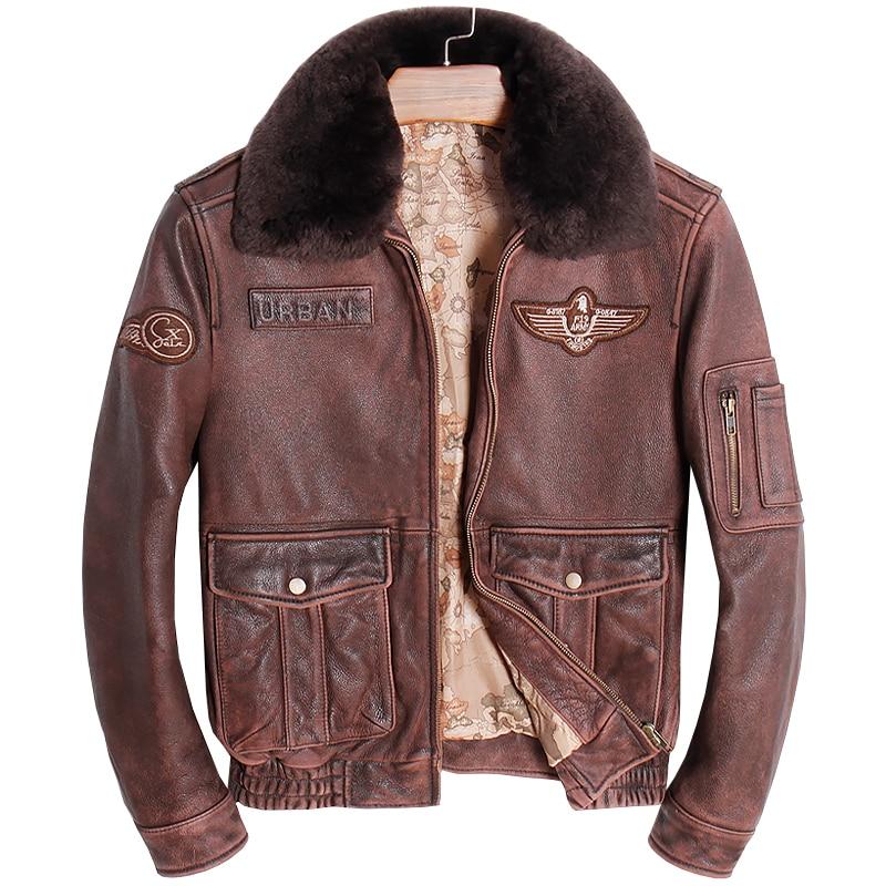 HARLEY ciruela Vintage Brown hombres piloto chaqueta de cuero Collar de lana más tamaño 3XL vaca genuino ruso vuelo cuero