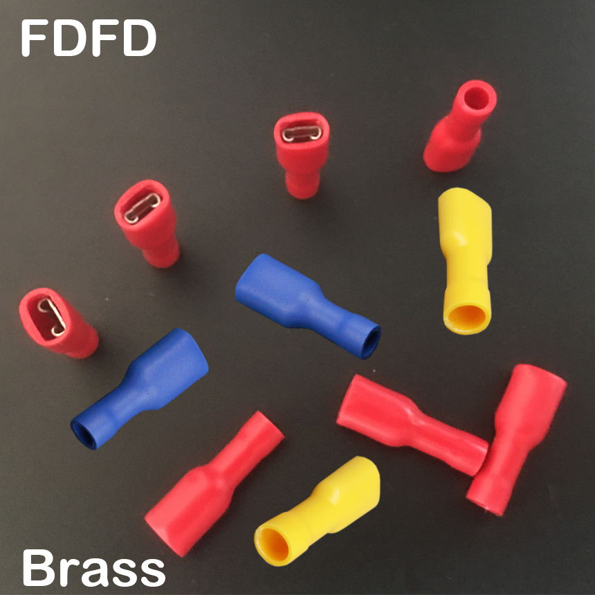 FDFD2 187 FDFD2 250 Brass Yellow Red Blue Female Socket Insulated Cable Wire Joint Disconnect Connector Crimp Terminal|Terminals| |  - title=