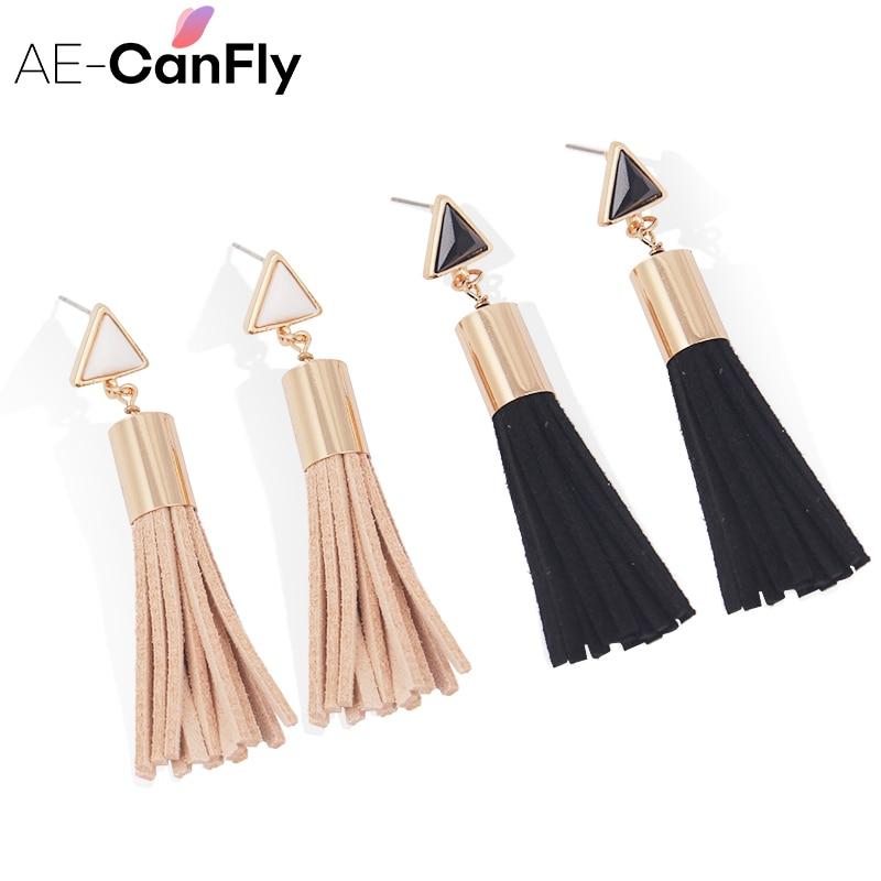 Pendientes largos de borla triangular vintage Pendientes largos de tela de gamuza sintética para mujer 2A3006