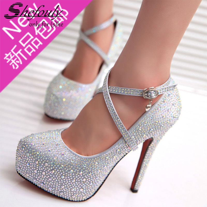 2017 New Princess Crytal Bling Bridal Party&Wedding Sexy Super High Thin Heel Shoes,Women's Pointed Toe Buckle Strap Pumps 2017 new ivory sexy wedding bridal shoes women pointed toe stiletto super high heels chain lace lady pumps zapatos mujer 0640 f5