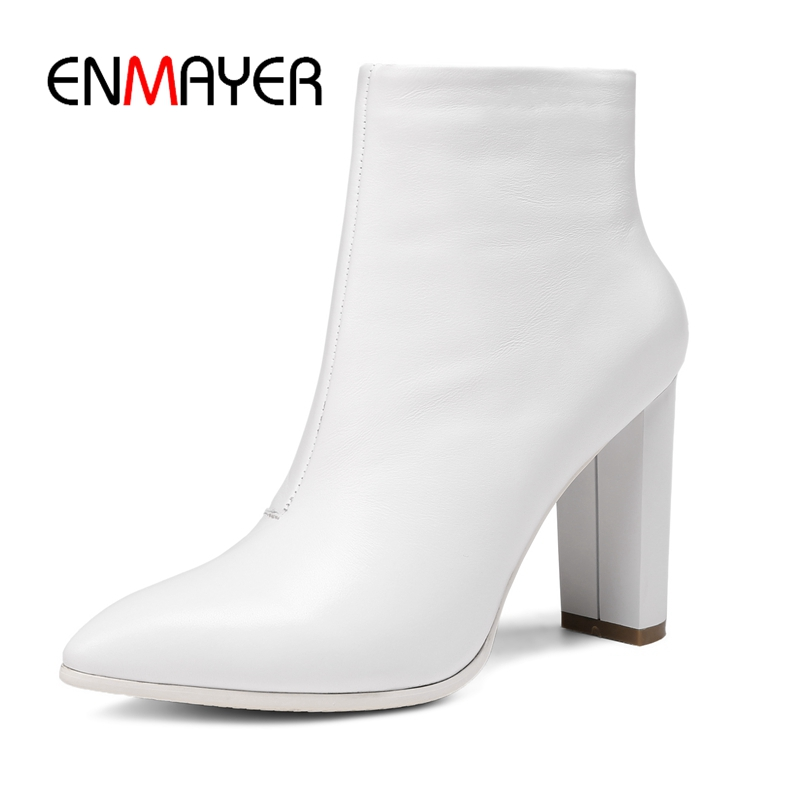 La Enmayer 34 white Zyl995 Moda Tamaño Tacón Mujer Cortas De Mujeres Las Botas 39 Black Alto Tobillo HxgrwH4z