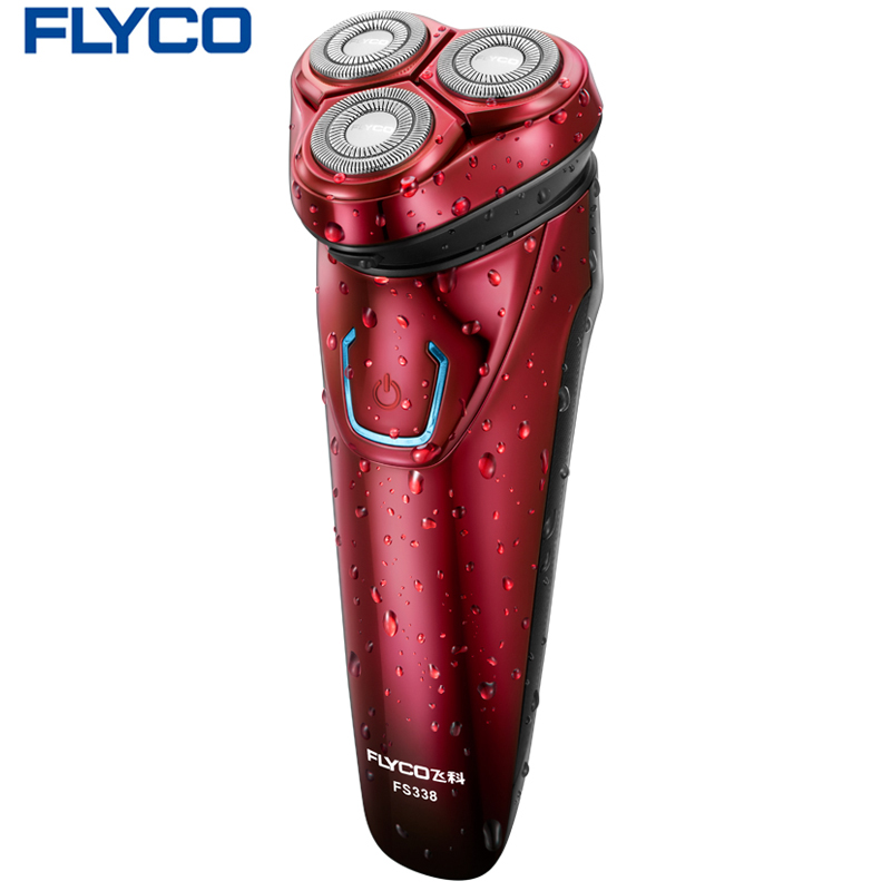 Flyco Professional Double-track three independent floating heads Entire Machine washable with LED Display Electric shaver FS338