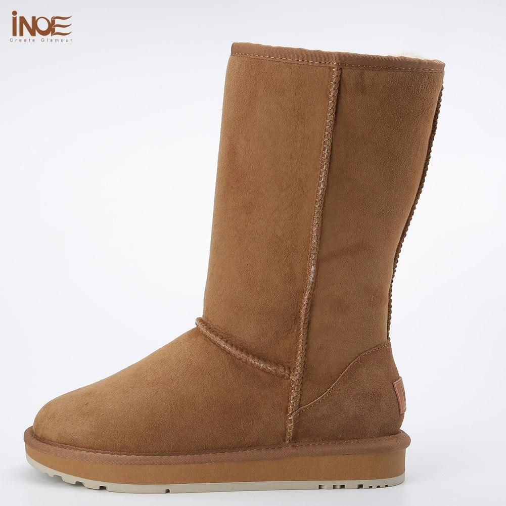 Classico di alta qualità di inverno delle donne stivali da neve stivali di pelle di pecora in pelle foderato di pelliccia di inverno scarpe nero marrone rosso non slip suola 35 44 - 2