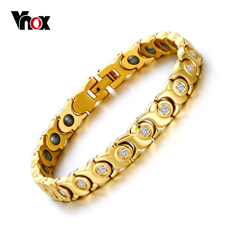 Vnox 2017 New Women Bracelet Bangle Zircon Stone Hematite Magnetic Health Care  C Jewelry