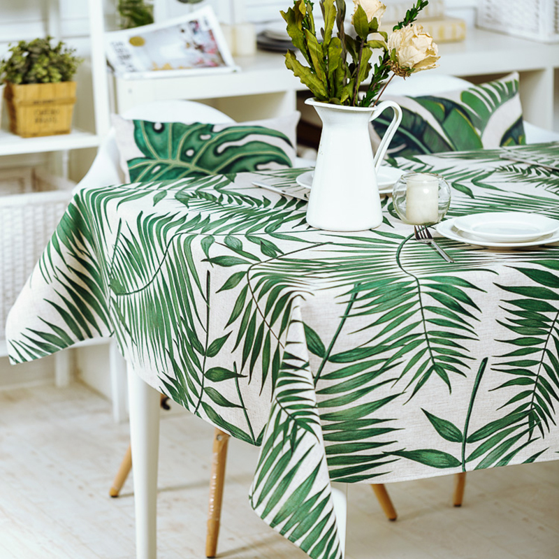 Fresh Plant Green leaves Table Cloth Thick Linen Customize Dining Tablecloth Coffee Restaurant