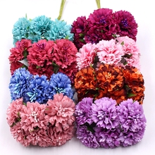 цена на Marigold 6pcs/bunch 3.5cm mini daisy flower bouquet artificial flower wedding decoration diy craft home decoration accessories