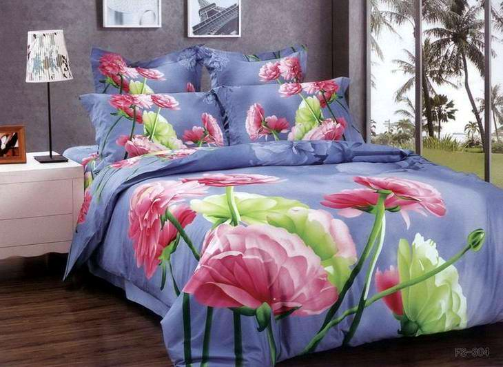 Beautiful Queen Size Blue Pink Floral Bedding Set Quilt