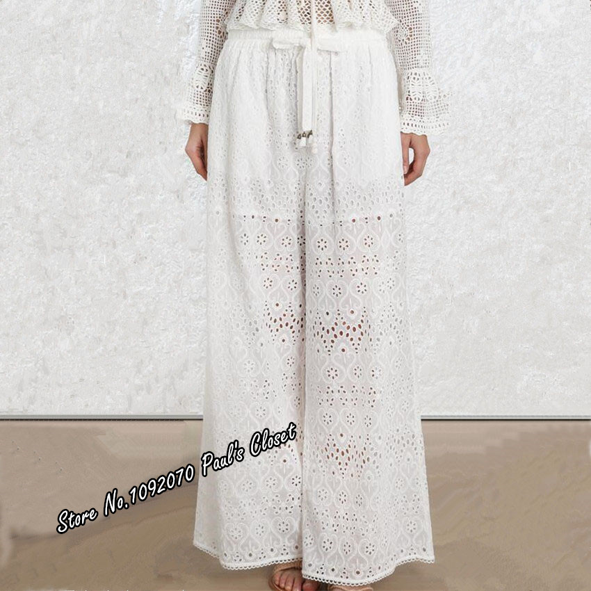 Women Embroidery Castile   Wide     Leg     Pant   In Ivory Drawstring Waist Trousers