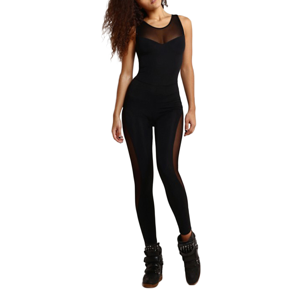 2017 Sexy Summer Rompers Womens Jumpsuit O Neck Sleeveless Mesh Overalls Fitness Workout Bodysuit Leotard Playsuit Black Catsuit 2