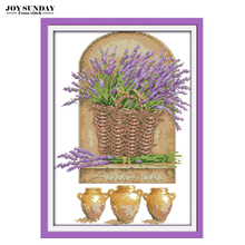 Lavender cross stitch needlework diy aida 14ct 11ct dmc cotton thread paintings embroidery kit new year decorations