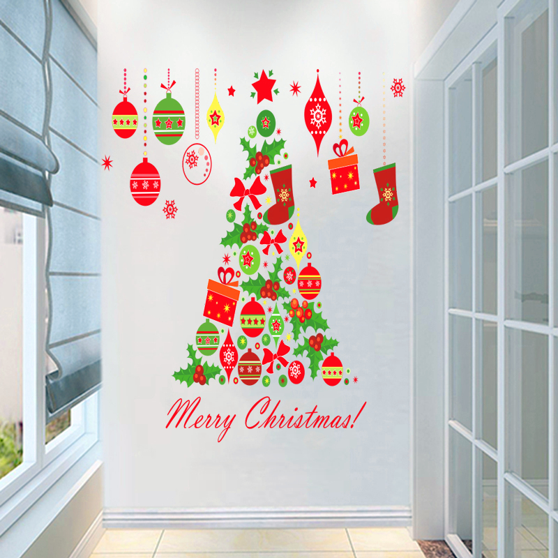 Merry Christmas Tree Bells Wall Stickers Home Decor Stue Store Window - Indretning af hjemmet - Foto 6