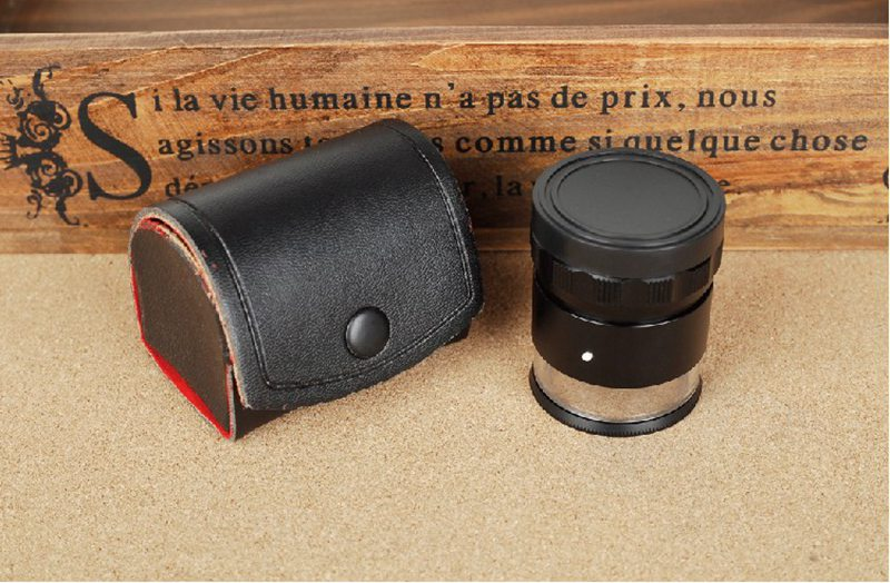 10X Optical Illuminated Magnifying Glass Lens Cylindrical Measuring Magnifier Loupe with 8 LED and Scale