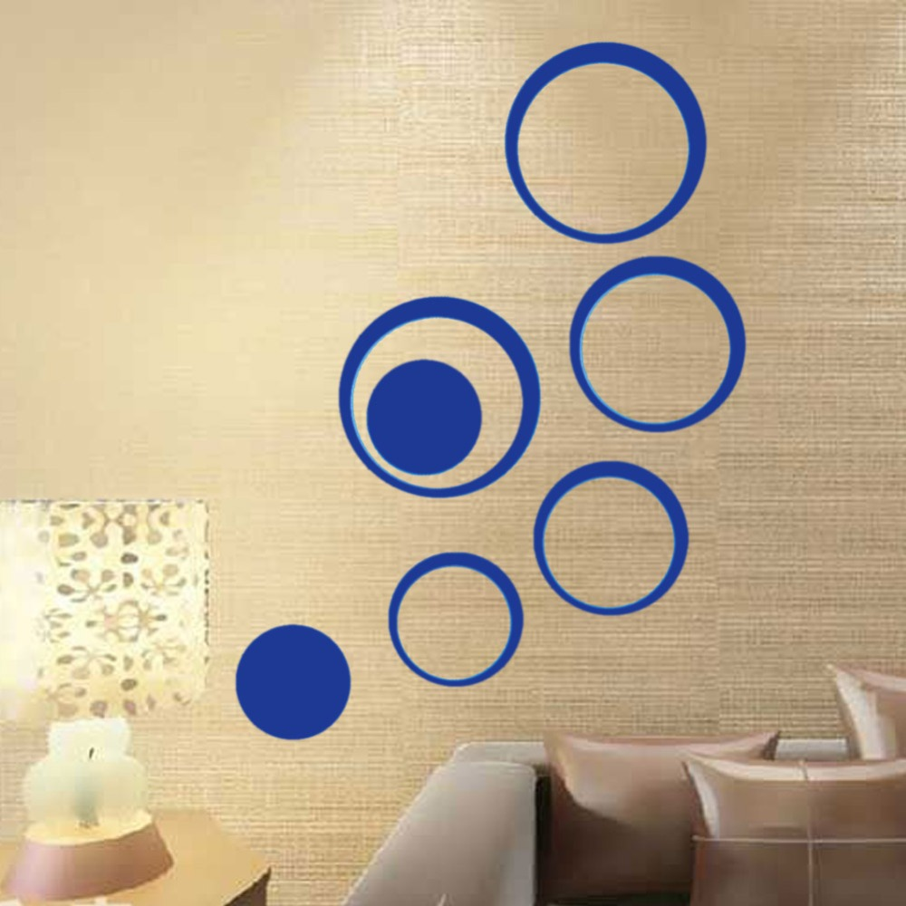 5Pcs/set Acrylic Circle Mirror Wall Stickers Removable DIY Wall ...