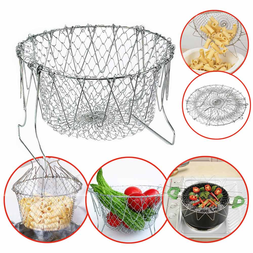 Collapsible Colander Mesh Basket Steam Rinse Strainer Stainless Steel Filter Kitchen Sieve Fry French Chef Basket Cooking Tools
