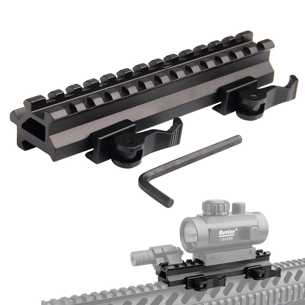 UniqueFire Tactical Picatinny Riser Mount Rails Dual <font><b>90</b></font> and 45 Degree Quick Release Detach 13-Slot Medium Profile image