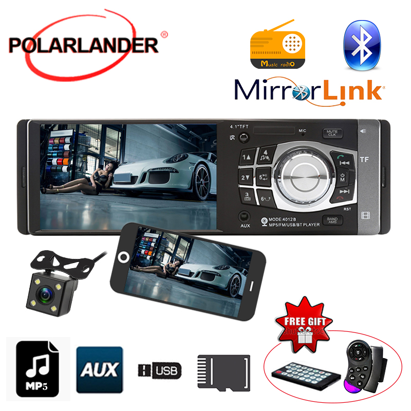 1 Din 4.1 inch TFT HD car radio audio player USB SD aux in radio wheel/remote control Rear View camera Stereo Car autoradio play image