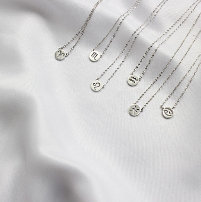 PINJEAS 12 Constellation Signs Zodiac Dainty Horoscope Astrology 925silver Pendant Round Charm Necklace Bridesmaid Gift jewelry