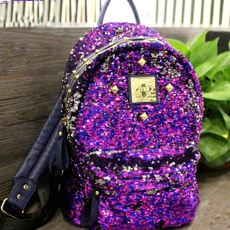 Bling bling woman backpack rivets mochilas crystal schoolbags for . d63d955795e3