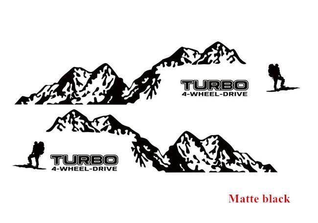 Виниловая наклейка на 4 колеса с Горным приводом для Toyota Prado Land Curies, уличная спортивная наклейка s, наклейка для боковой отделки двери автомобиля - Название цвета: Matte black