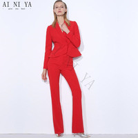 Custom Women Tuxedos Suits For Women Peaked Lapel Double Breasted Ladies Business Suits Female Office Uniform Trouser Suits