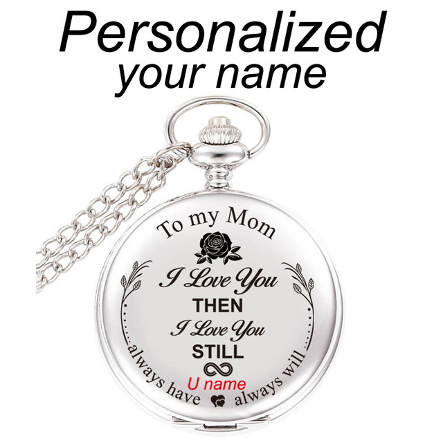To My Mom I Love You Gift For Birthday Mothers Day Personalized Engraved With Your Name Text 47MM Pocket Watch