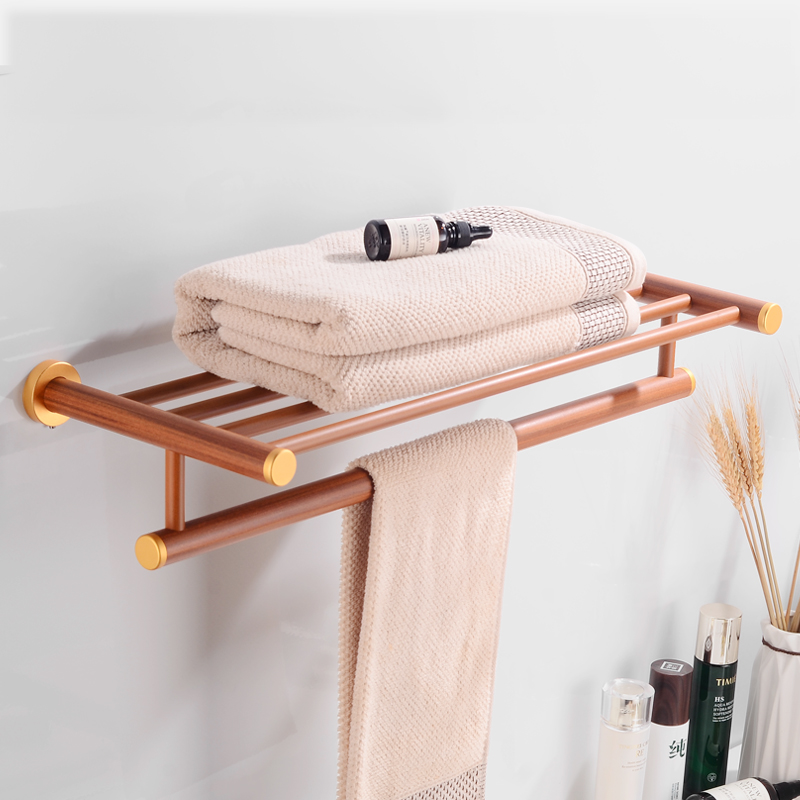 Bathroom Towel Rack Hanging Holder Aluminum Wood Towel Holder Double Towel Bar Bathroom Shelf Wall Mounted Toilet Paper Holder in Bath Hardware Sets from Home Improvement