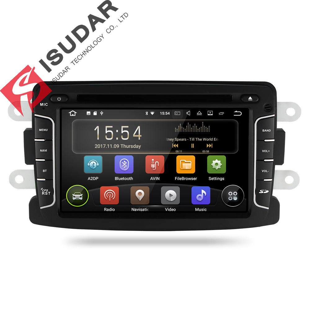 Isudar Car Multimedia Player GPS Android 7.1.1 Car Radio 1 Din For Dacia/Duster/Renault/Lada/Xray 2 Quad Core Microphone