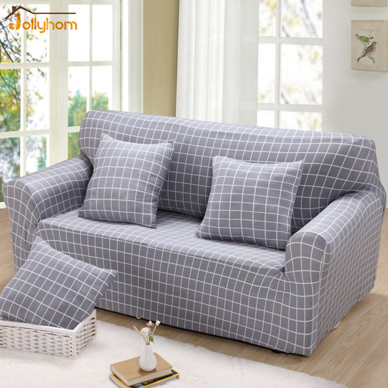 Grey Plaid Dyed Fabric Couch Cover 100% Polyester Elastic Sofa Cover Living  Room Slipcover 23