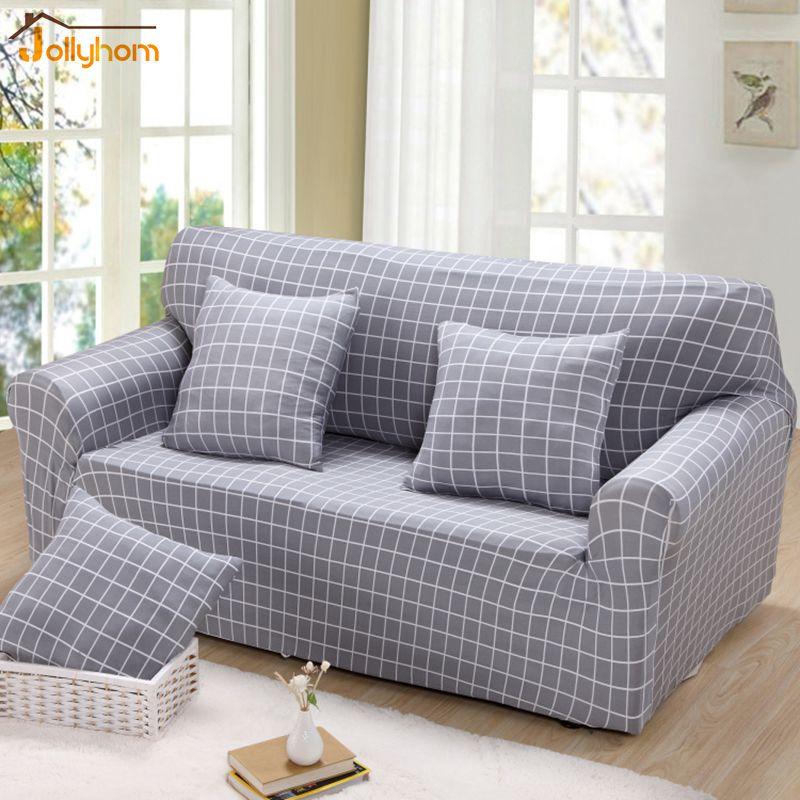 Grau Plaid Gefrbt Stoff Couch Abdeckung 100 Polyester Elastische Sofa Wohnzimmer Schutzhlle 23 Farben