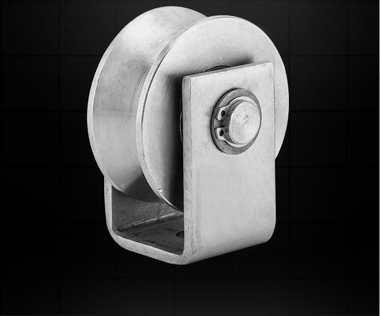 304 stainless steel V groove pulley for iron gate/slide wheel rollerfor swing/sliding gate with wheel+bracket height 90mm 3.5inc m75 750kgs pulley 304 stainless steel roller crown block lifting pulley factory direct sales all kinds of driving pulley