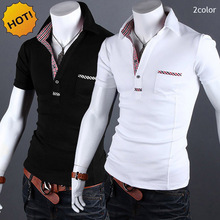 High quality 2019 Fashion Summer Foreign trade short sleeve students grid edge show thin shirt lapels men polo homme