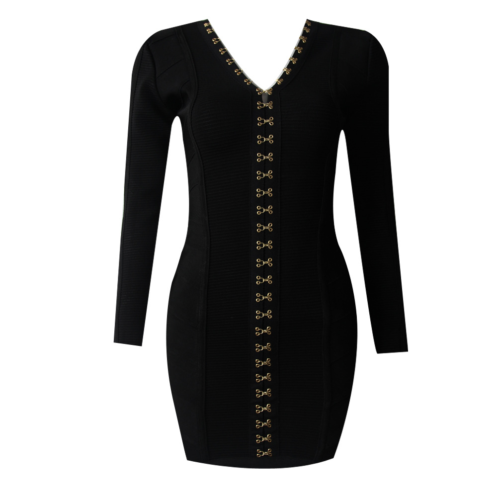 High Quality Women Autumn Winter Sexy Bodycon Mini Dress Deep V Neck Long Sleeve Bandage Dress 2017 Black Knitted Elegant Dress
