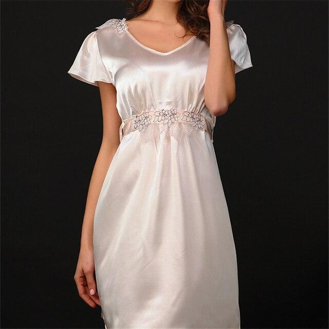 New Arrivals Lace Nightgowns V-neck Solto Vestidos Das Senhoras Vestido de Princesa Desgaste Do Sono Sólido Macio Casa de Manga Curta Camisola # H55