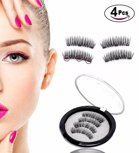 1f4a993eb86 3 Magnets 3D Magnetic Eyelashes Magnet Lashes Reusable False Eyelashes  Handmade No Glue Fake Lashes Extension 4 pcs/set(24P-3)