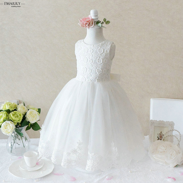 ZZ0536 207 New Arrival Sleeveless Floor-Length   Flower     Girl     Dresses   with Jacket Appliques Tulle   Flower     Girl     Dresses