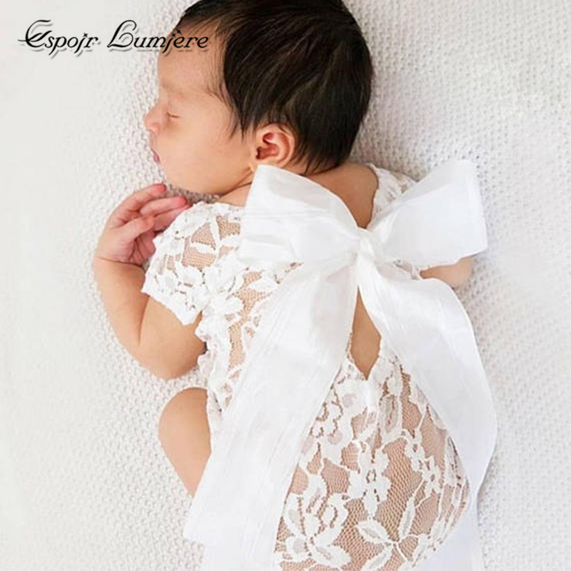 Espoir Lumiere Baby Summer Clothes Baby Girl Romper White Lace Toddler Bowknot Newborn Photography Props Baby Infant Clothes baby girl 1st birthday outfits short sleeve infant clothing sets lace romper dress headband shoe toddler tutu set baby s clothes