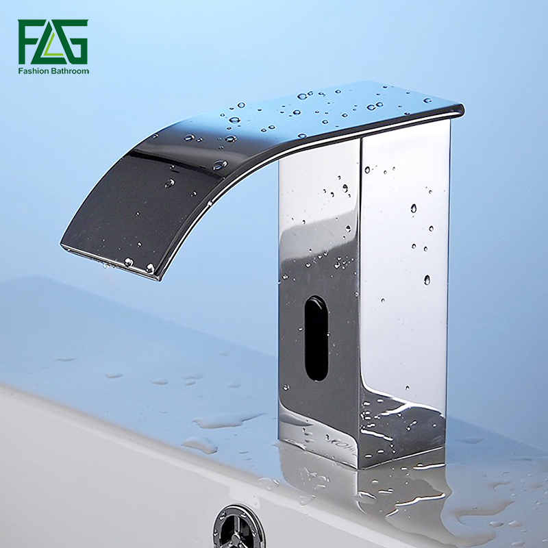 FLG AC/DC Battery Power Water Saving Cold Automatic Hands Touch Free Sensor Faucet Waterfall Bathroom Sink Tap Basin Faucet T20 fapully bathroom waterfall basin faucet deck mounted automatic hands touch sensor water faucet waterfall sink tap