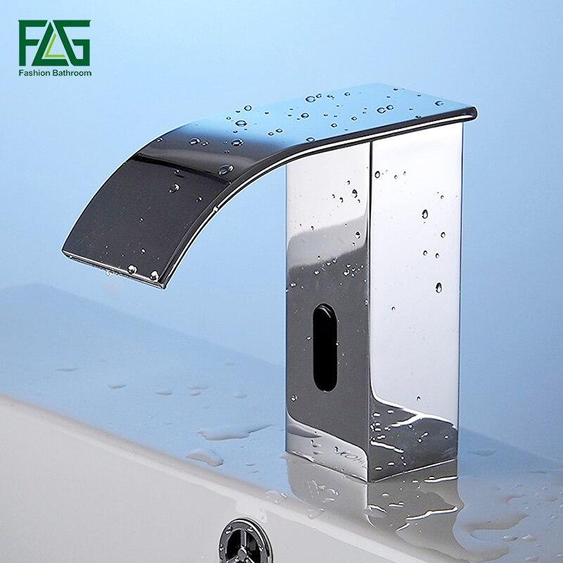 Flg AC/DC Батарея Мощность экономии воды холодной автоматическая руки сенсорный Бесплатная Сенсор кран водопад Ванная Комната Раковина Нажмит...