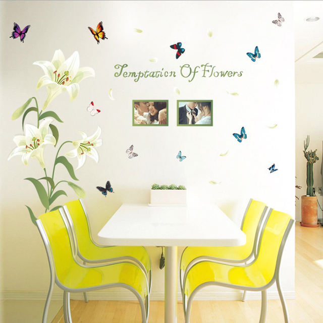 English Letter Lily Flowers Photo Frames Butterflies Wall Sticker ...