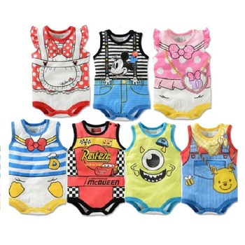 2017 summer cartoon baby bodysuit mickey boys clothes minnie baby girl jumpsuits daisy donald duck newborn.jpg 350x350