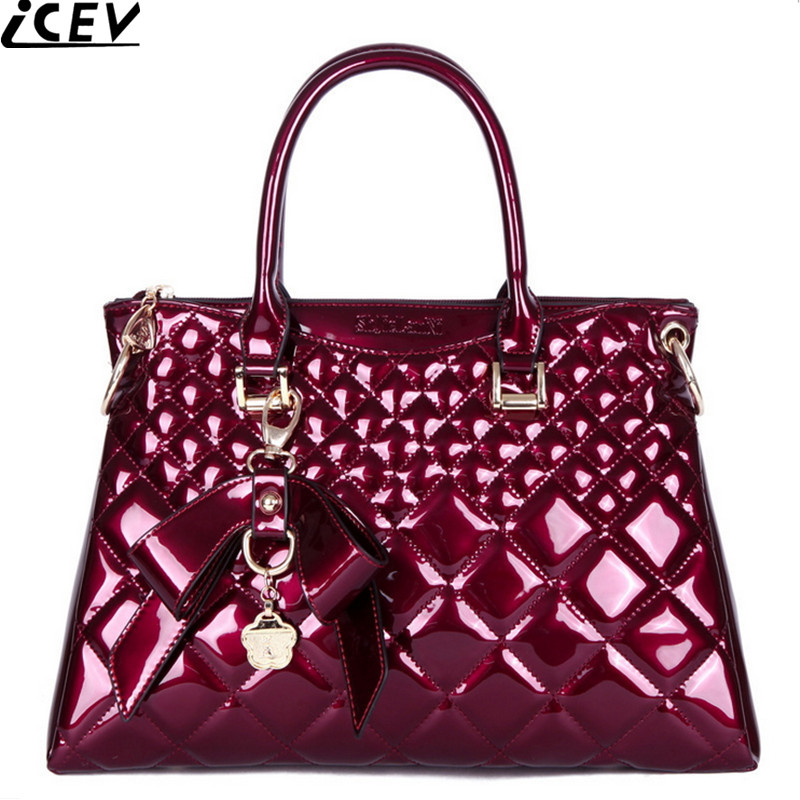 Luxury designer handbags high quality patent leather women's handbag of famous brands bride wedding bag quilted clutch solid sac icev luxury designer high quality patent split leather women s handbags famous brands lace embroidery messenger bag ladies tote