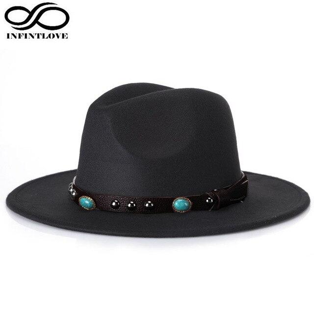 LUCKYLIANJI Women Men Fashion Wool Felt Leather Kallaite Ribbon Wide Brim  Jazz Panama Fedora Hat Sun Beach Cap (One Size  58cm) c0e257205486