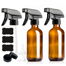 2pcs 8 Oz amber glass spray bottle with black trigger spray & caps, refillable containers for essential oils, cleaning product цена в Москве и Питере