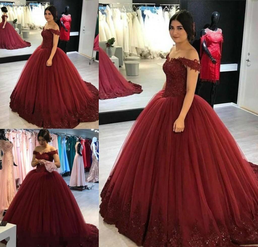 Robe de bal bordeaux Quinceanera robes 2019 Puffy appliqué hors de l'épaule douce 16 filles bal de promo robes de reconstitution historique grande taille