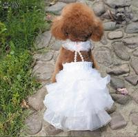 QY Clothing For Dogs Clothes Puppy Dog Cat Pet Apparel Lace Flower Princess Beading White Pink