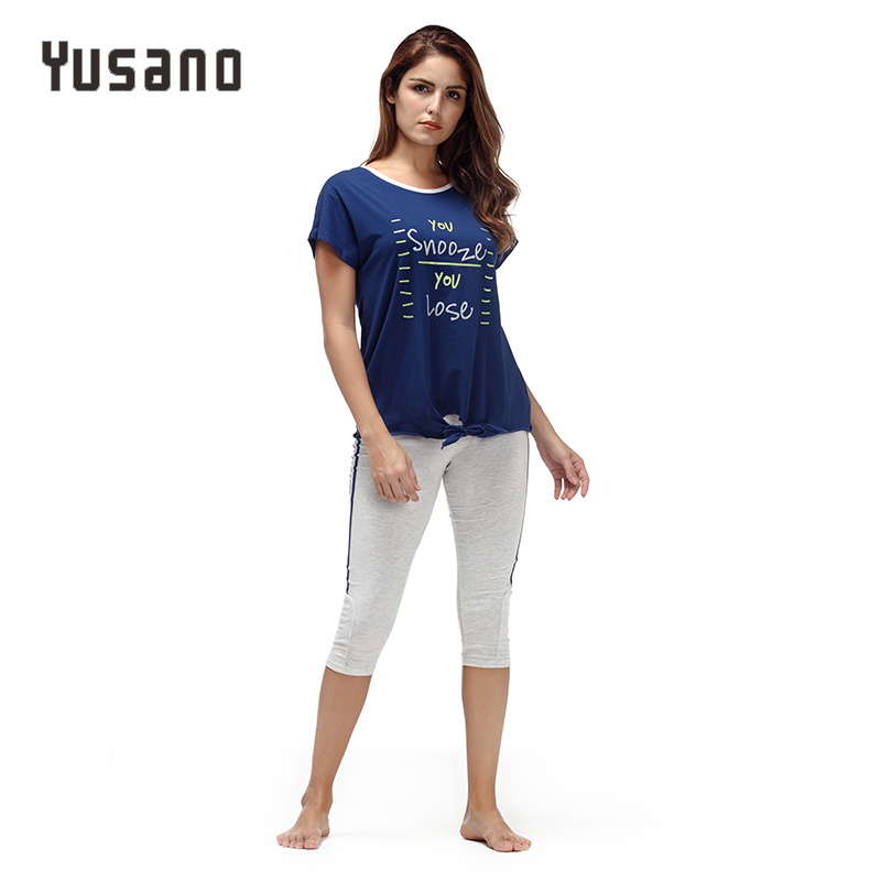 Yusano 2017   Pajamas     Set   Cotton O-neck Short Sleeve Sleepwear Women Casual Letter Print Tops+Calf-Length Pants Homewear Unicornio